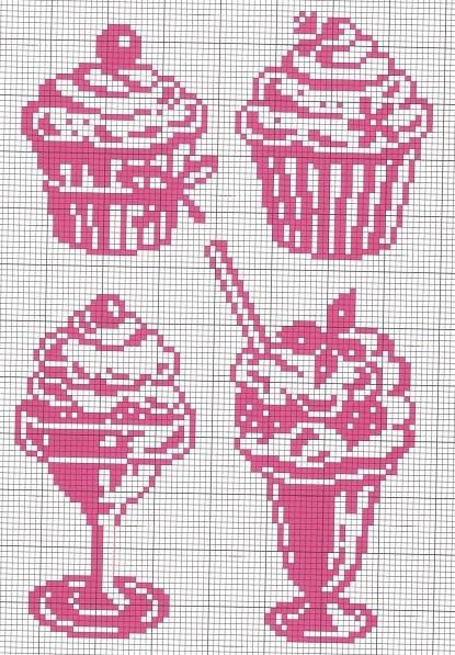 Cupcake cross x stitch pattern chart stylized