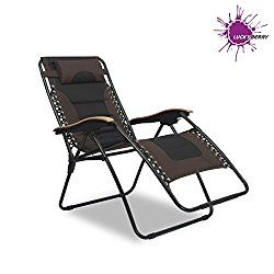 zero gravity patio chair xl american antique chairs luckyberry deluxe oversized padded black brown lounge outdoor yard beach