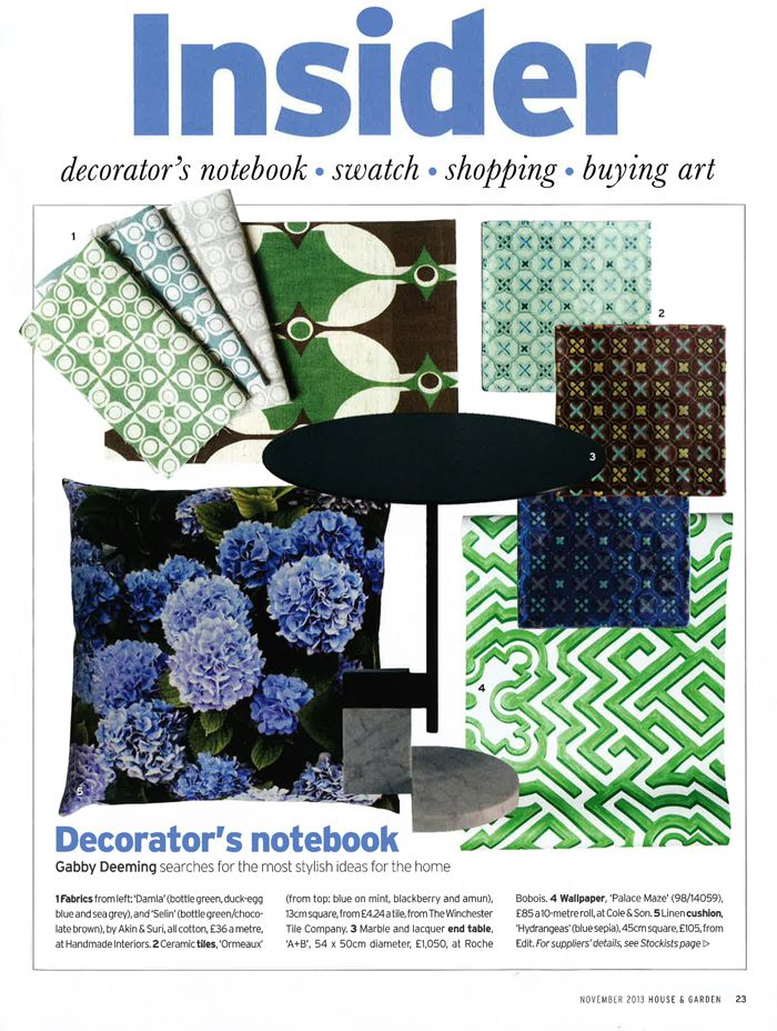 The November issue of UK House & Garden features EDIT's Hydrangeas Blue cushion 45 x 45cm $180, available now online or instore. All cushions can be made to order in any size and EDIT fabric.