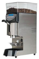 Mythos Plus espresso grinder fr Nuova Simonelli Built in tamp 83 mm burrs super fine adjustment. Commercial cafe grinder