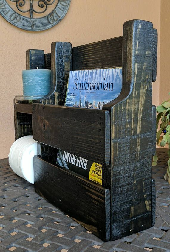 Magazine Rack Toilet Paper Holder made from Rustic Reclaimed – DIY Furniture – #…   – most beautiful shelves