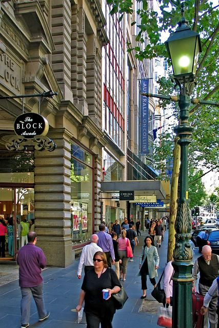 CollinsStreet with entrance to Block Arcade.  Melbourne, Victoria Australia. City