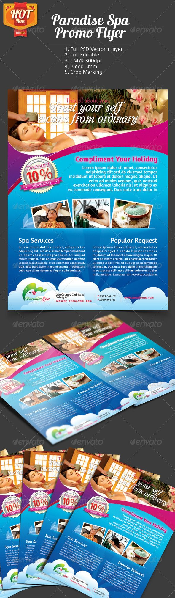Paradise Spa Promo Flyer  #GraphicRiver
