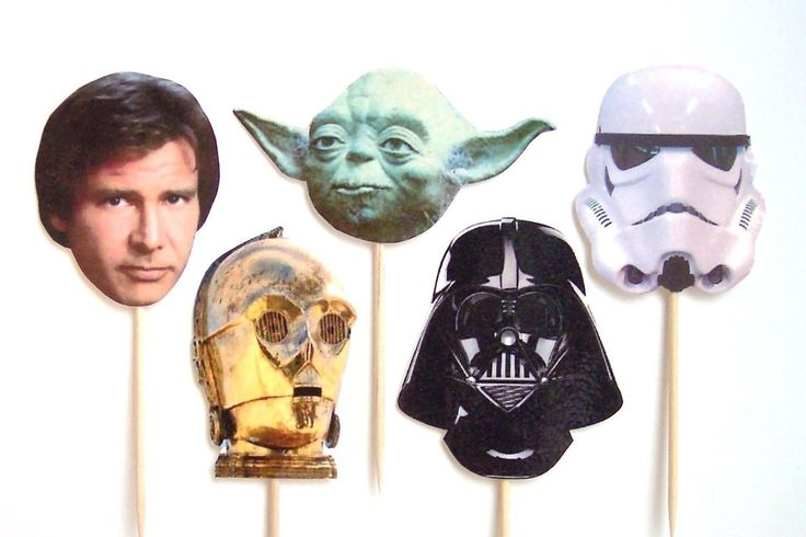 Star Wars Cupcake Toppers - Set of 12 Picks - You Choose Characters - Birthday Party Decorations, Star Wars Party, Yoda, Darth Vader by TheBlissfulBaker on Etsy https://www.etsy.com/listing/62344913/star-wars-cupcake-toppers-set-of-12