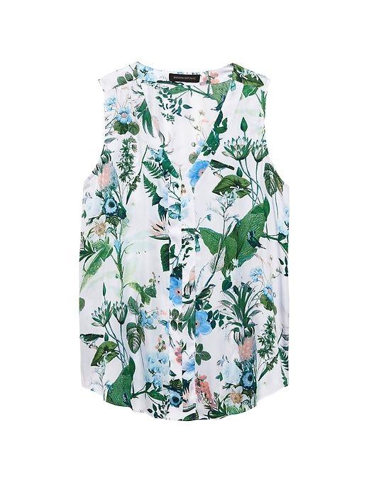 a36ea6906f7882 Banana Republic Womens Petite Botanical Print Sleeveless V-Neck Top White