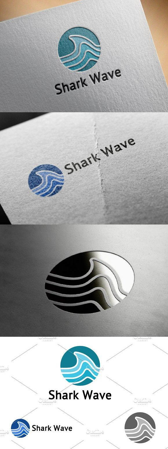 Shark Wave in Circle Shape Logo. Logo Templates