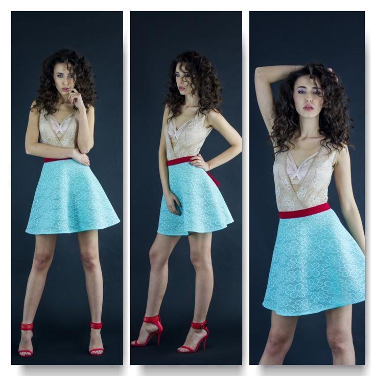 Nude bodysuit Price: 200 RON Lace neoprene mesh skirt  Price: 250 RON