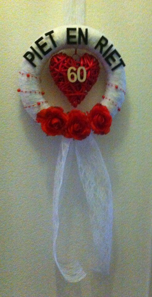 Krans gemaakt voor grootouders - 60 jaar getrouwd ©reated by Anja