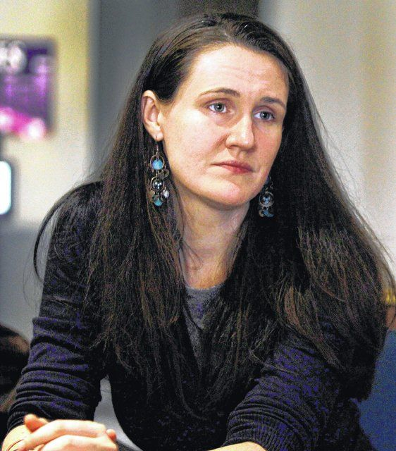 "Liz Murray talks with a reporter about her life journey depicted in the made-for-TV movie ""From Homeless to Harvard"" as the United Way of Wyoming Valley launched its 95th annual campaign Wednesday night at Mohegan Sun Pocono in Plains Township."