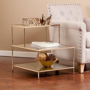 Southern Enterprises Melrose Metallic Gold Glass Top End Table-HD889344 - The Home Depot