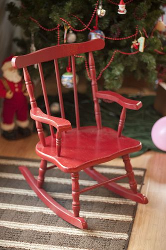 Little Red Rocking Chair - my red rocker was red leather with brass studs.