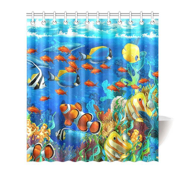 winterby Custom Bleu océan poisson tropical Corail Undersea World en tissu imperméable de Salle de Bain Rideau de douche 167,6x 182,9cm: Amazon.ca: Maison et Cuisine