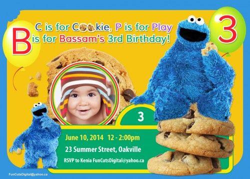 Cookie Monster Invitation, Sesame Street, Kids Birthday Invitation
