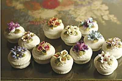 12 Bisque Floral Favor Boxes - Wedding & Personalized Favors - Roses And Teacups