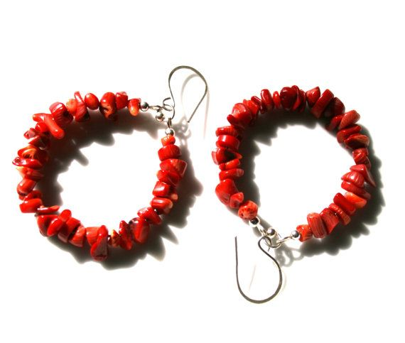 Red coral hoop earrings for a hot statement. Handcrafted of natural coral and sterling silver.  Thanks to the classic red color and the hoop shape, you can