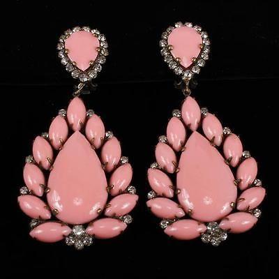 Kenneth-J-Lane-KJL-Pink-amp-Rhinestone-Chandelier-Clip-Earrings-Lot-211
