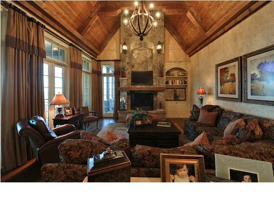 family room chandelier rustic  love the ceiling.