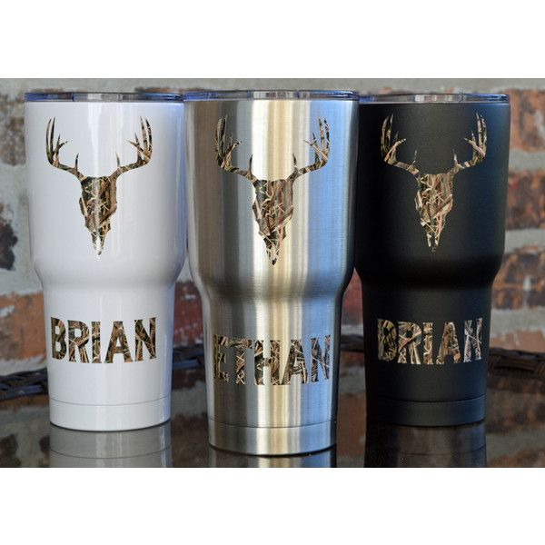 Sic 30 Ounce Glacier Tumbler Deer Skull Camo Hunting Stainless... ($33) ❤ liked on Polyvore featuring home, kitchen & dining, drinkware, black, drink & barware, home & living, tumblers & water glasses, colored drinkware, skull cup and stainless tumbler