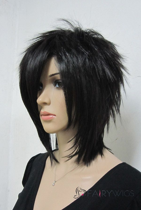 For a Joan Jet costume? - Ancient Capless Short Synthetic Hair Black Straight Cheap Costume Wigs
