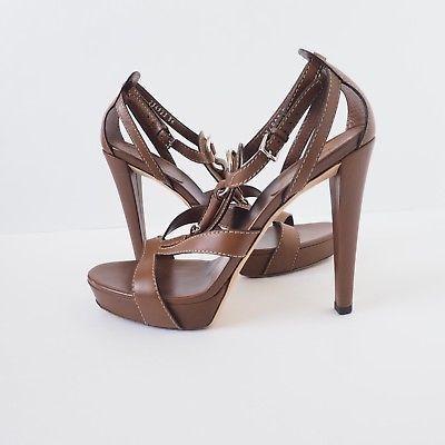 Gucci-Brown-Icon-Bit-Leather-Platform-T-Strap-Heels-Pumps-Sandals-Size-39-EU