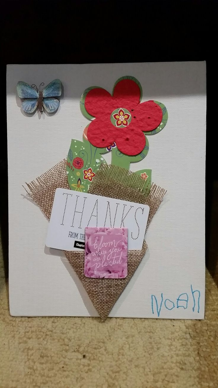 Teacher gift: plantable paper, magnetic bookmark and gift card