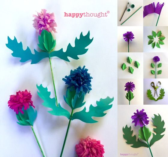 Paper craft thistle templates and tutorials for Burns Night Supper ideas. Jan 25th 2016.
