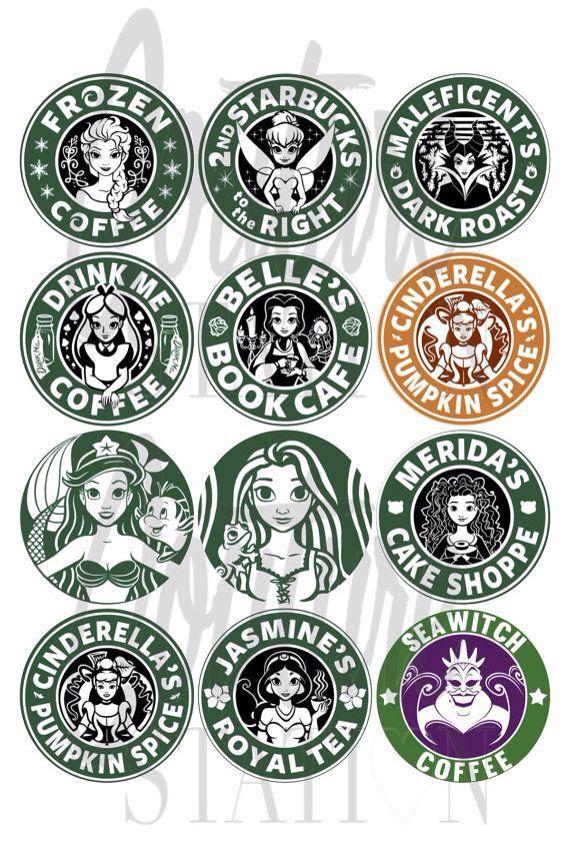 Princesas e vilãs da Disney estilo Starbucks http://jrstudioweb.com/diseno-grafico/diseno-de-logotipos/