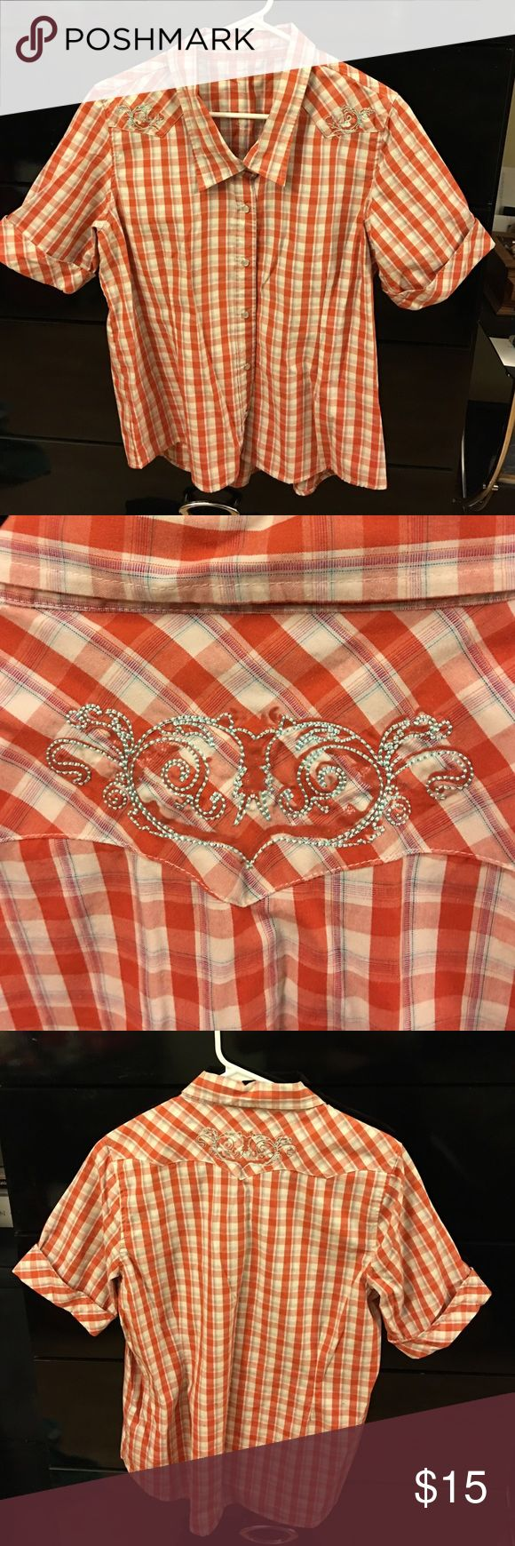 Bit and Bridle Plaid Cowgirl Shirt I have s size large orange and white Plaid cowgirl shirt with snap closure. Has light blue embroidery on shoulders and the back. Bit & Bridle  Tops Button Down Shirts