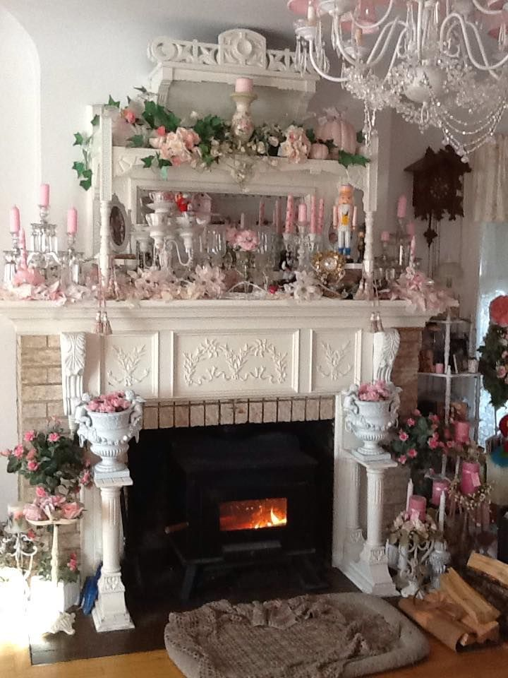 Awesome White Shabby Chic Victorian Fireplace Mantel With Pink Decor Fairynests Images Of