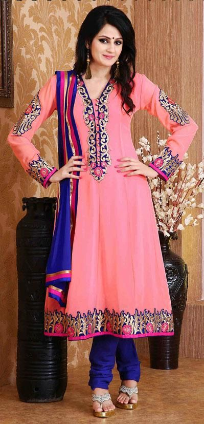 $53.07 Pink Embroidered Long Faux Georgette Anarkali Salwar Suit 25899