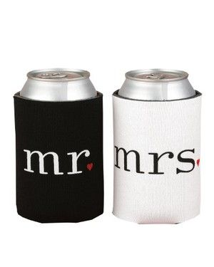 His and Hers Gift Ideas - Mr and Mrs can coozies...cause nothing ruins a honeymoon faster than lukewarm beverages!