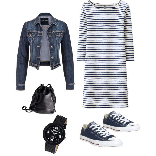 Wann kommt endlich der Frühling ? #chucks #streifenkleid #jeansjacke #stripedress