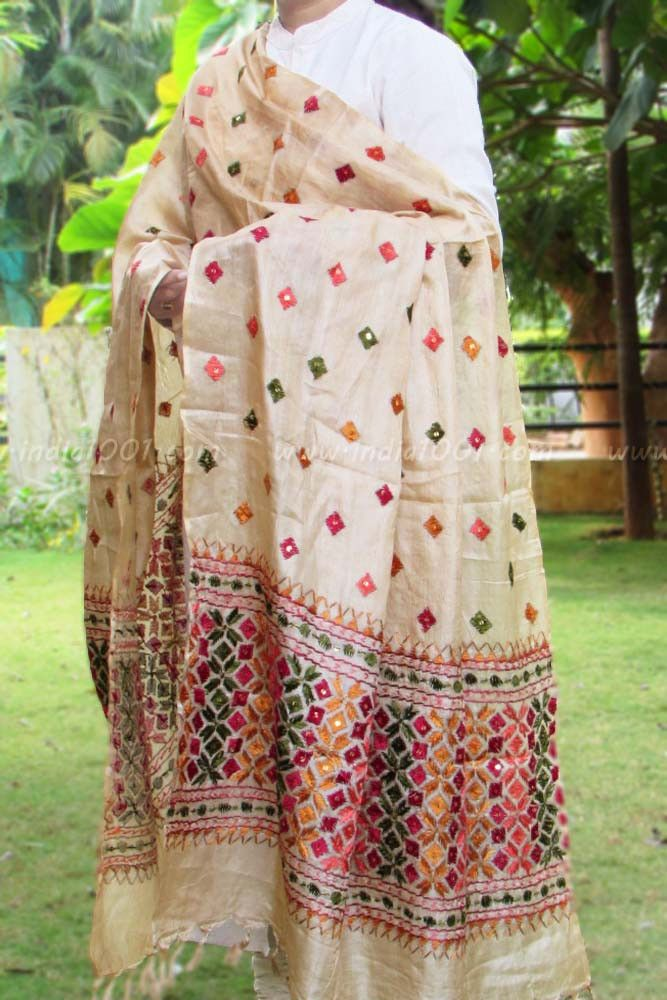 Designer silk hand embroidered phulkari work dupatta