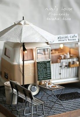 Miniature beachside cafe.    TINY WORLDS HAS BEEN CLOSED FOR NEW PINS. PLEASE FOLLOW 'TINY WORLDS 2' IF YOU WOULD LIKE TO CONTINUE RECEIVING NEW MINIATURE PINS. THANK'S FOR FOLLOWING TINY WORLDS!