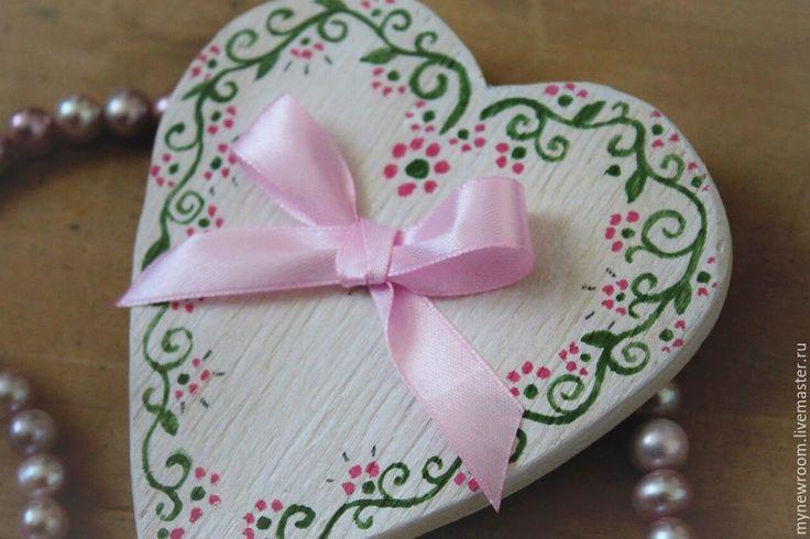 Купить Фигурки сердечки из дерева - разноцветный, красный, белый, синий, орнамент, сердце, сердечко