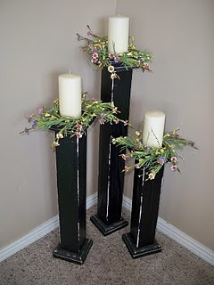 "Love these tall candle holders.Change greenery to fit the season! 27"", 22"" and 17"" tall."