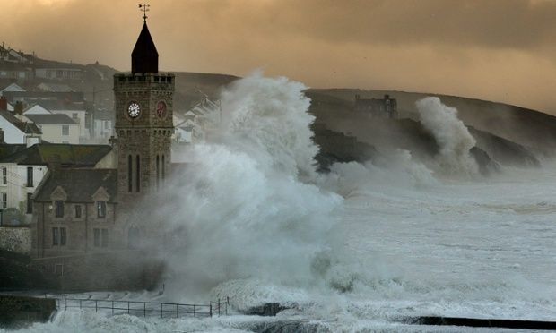 Porthleven Cornwall violent storm   The sea rages as it thrashes the coast at Porthleven, Cornwall. Some ...
