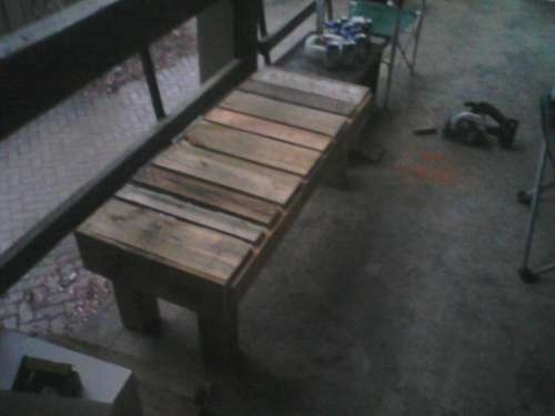 beat up pallet turned rustic bench gardens bad boys and kelly madison. Black Bedroom Furniture Sets. Home Design Ideas