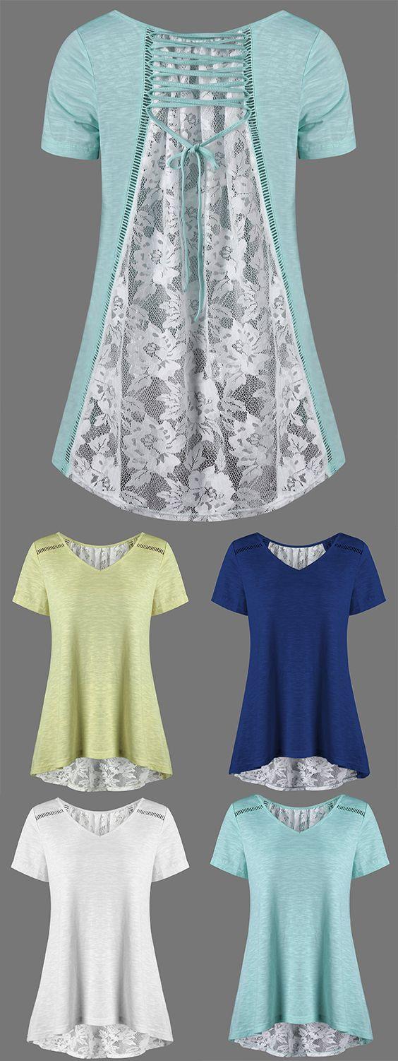 Shirt design with laces - Lace Up Floral High Low Hem T Shirt