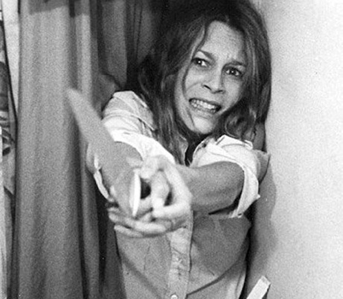 ...and then after she stabs him she drops the knife.  Halloween. Jamie Lee Curtis