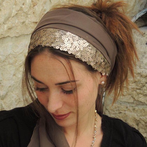 Sparkling  Headband tichel  Snood Head by SaraAttaliDesign on Etsy, ₪125.00