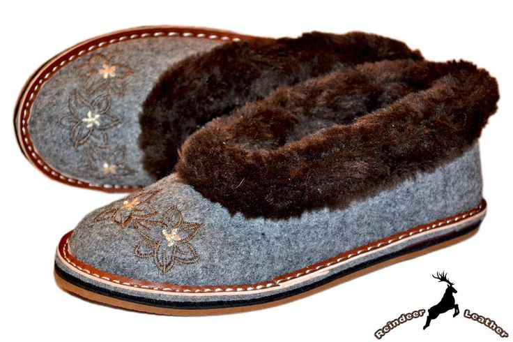 Viva Grey Moccasin Fur Collar Shoes