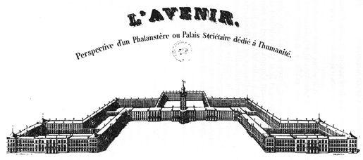 Perspectiva del Falansterio de Charles Fourier en la que se aprecia su inspiración versallesca.