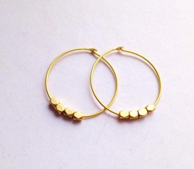 Goldene Creolen // golden creoles by Lililoewe via DaWanda.com