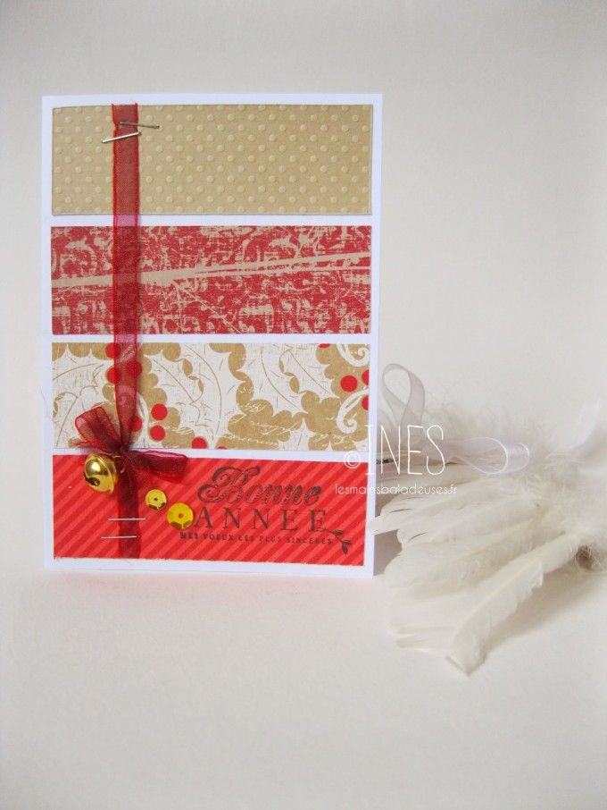 Cartes de voeux / Noël scrapbooking clean & simple, bandes de papiers de couleurs. / Scrapbooking christmas / wishes cards, coloured paper stripes.  https://www.facebook.com/lesmainsbaladeuses/