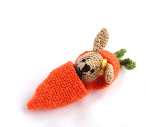 $28.84 #EASTER #amigurumi #BUNNY in a #carrot #purse, #hide in #bunny, #add #to #Easter #basket, #traveling #toy, #crochet #carrot, #miniature #rabbit