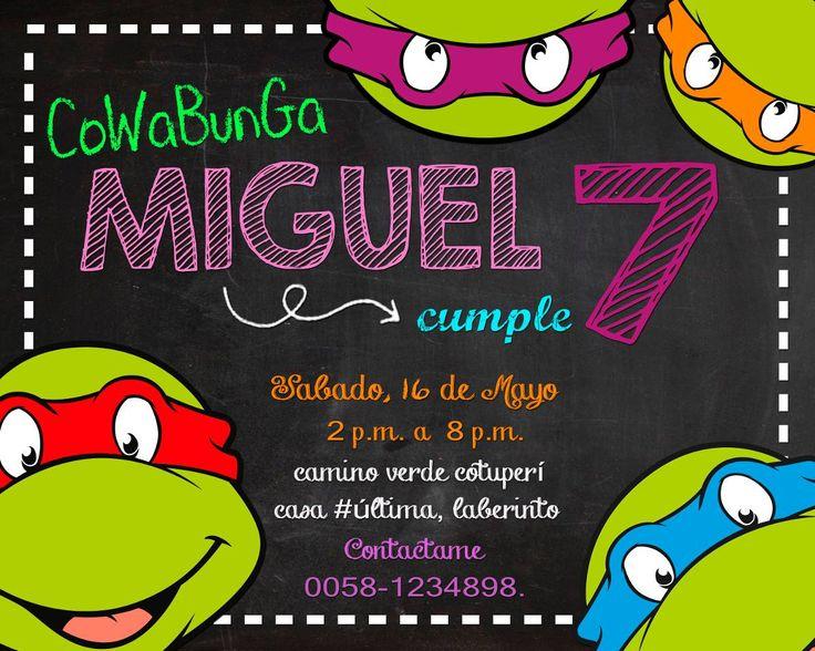 invitación de cumpleaños tortugas ninjas  incluye edicion