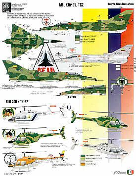 Ecuadorian Air Force Part 1. (13) Sepecat Jaguar Mk.1/T2 includes nose art for Cenepa War, SA341 Gazelle, choice of 2 colour schemes, IAI Kfir C2/TC2 choice of scemes, Bell206/TH-57 choice of 5 schemes inclding Navy