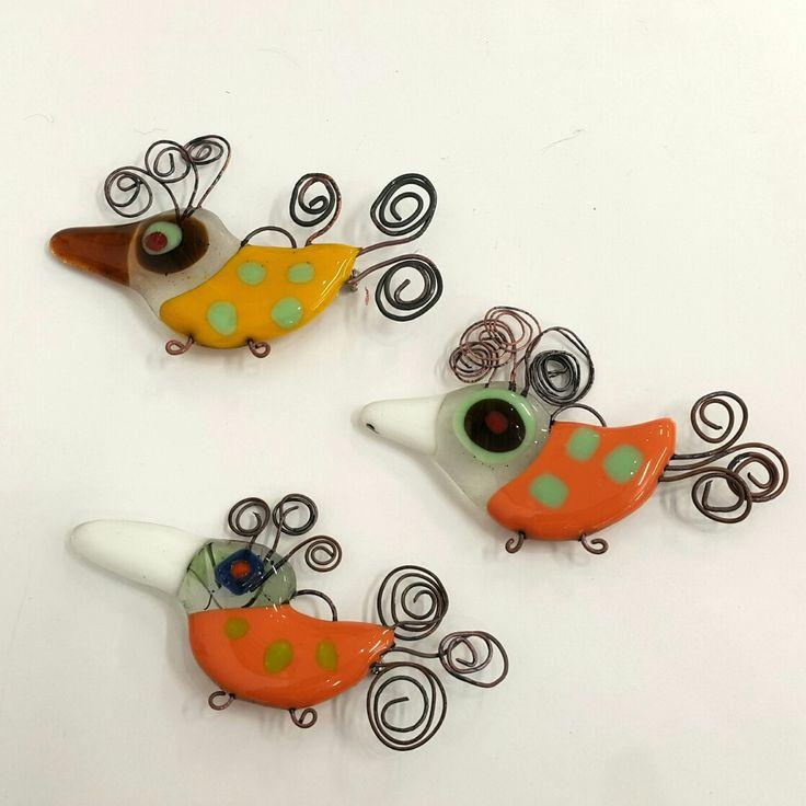 Green Chook Designs  Molten glass bird brooches