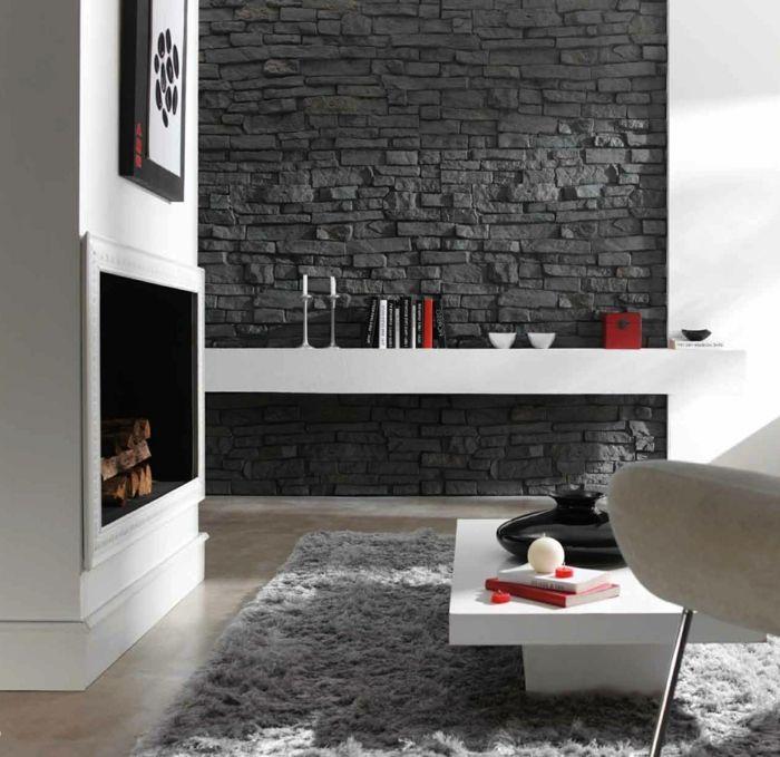 wandpaneele steinoptik wohnzimmer wandverkleidung kamin